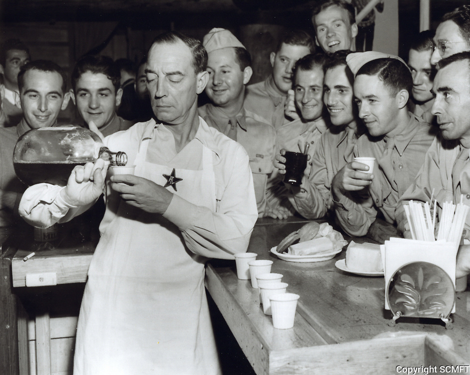1944 Buster Keaton pours punch at the Hollywood Canteen