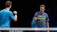 Tennis - 2017 Nitto ATP Finals at The O2 - Day Seven<br /> <br /> Mens Doubles: Semi Final 2 : Jamie Murray (Great Britain) & Bruno Soares (Brazil) Vs Henri Kontinen (Finland) & John Peers (Australia) <br /> <br /> Henri Kontinen (Finland) and John Peers (Australia) celebrate taking the first set at the O2 Arena<br /> <br /> COLORSPORT/DANIEL BEARHAM