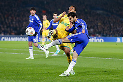 Mohamed Salah of Chelsea shoots past Andre Carrillo of Sporting - Photo mandatory by-line: Rogan Thomson/JMP - 07966 386802 - 10/12/2014 - SPORT - FOOTBALL - London, England - Stamford Bridge - Sporting Clube de Portugal - UEFA Champions League Group G.