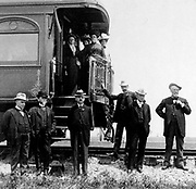 The Presidential Party and Train 1901. President William McKinley with others at the back of the train.