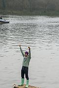 Greater London. United Kingdom, One Happy Cambridge supporter. Men's  University Boat Race , Cambridge University vs Oxford University Putney to Mortlake,  Championship Course, River Thames, London. <br /> <br /> Saturday  24.03.18<br /> <br /> [Mandatory Credit:Peter SPURRIER/Intersport Images]
