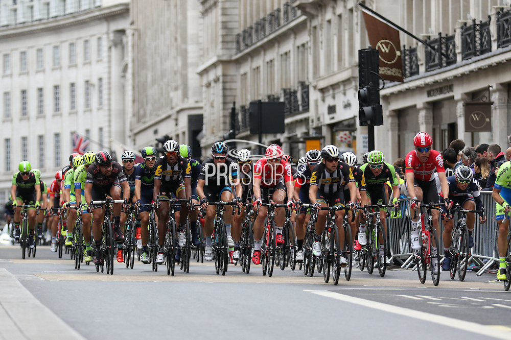 Riders on Regent Street during the London Stage of the Aviva Tour of Britain, Regent Street, London, United Kingdom on 13 September 2015. Photo by Ellie Hoad.