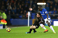 Ben Chilwell of Leicester City (l) and Oumar Niasse of Everton battle for the ball. Premier league match, Everton v Leicester City at Goodison Park in Liverpool, Merseyside on Wednesday 31st January 2018.<br /> pic by Chris Stading, Andrew Orchard sports photography.