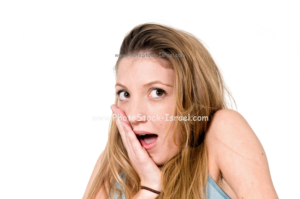 Surprised Young teen girl on white background