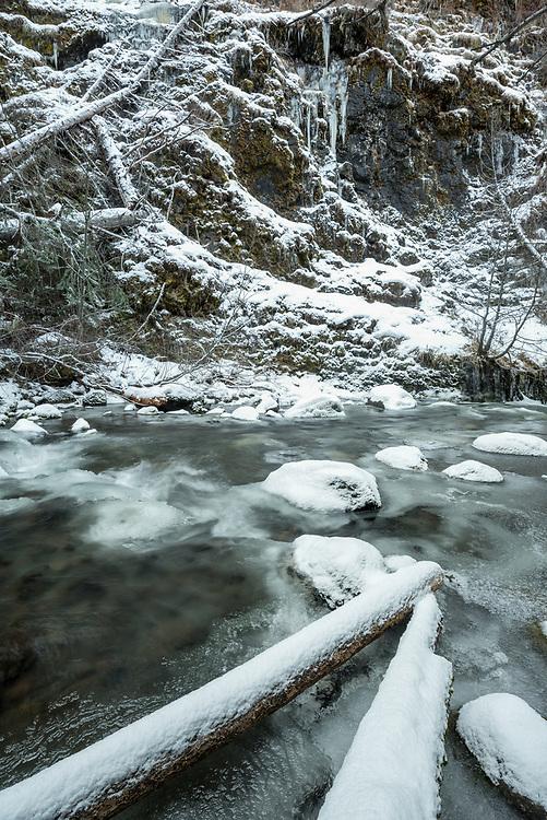 Bear Creek freezing up in late autumn, Wallowa Mountains, Oregon.