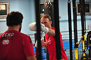 NASCAR driver Kevin Harvick trains with MMA fighter Johny Hendricks at Velociti Fitness League in Pantego on Wednesday, April 10, 2013. (Cooper Neill/The Dallas Morning News)