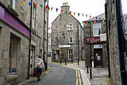 View of quiet street in old town of Lerwick, Shetland Isles, Scotland, UK