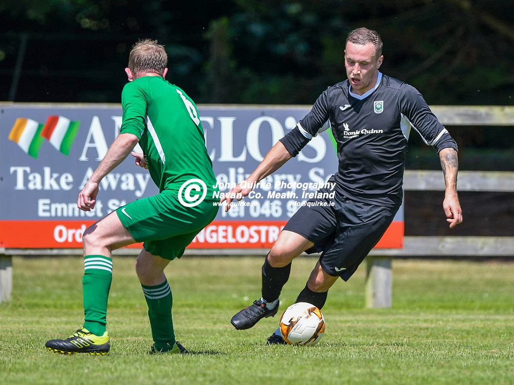 Robert dAly (Duleek) and Aaron Williams (Tirm Celtic),  during the Trim Celtic v Duleek, NEFL (Premier) match in Tully Park, Trim.<br /> <br /> Photo: GERRY SHANAHAN-WWW.QUIRKE.IE<br /> <br /> 18-07-2021