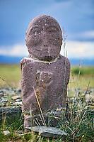 Mongolie, province de Uvs, région de l'ouest, balbal ou stèle on forme humaine datant du IV au VIII siècle // Mongolia, Uvs province, western Mongolia, stele in human form, IV-VIII century