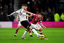 Jamie Paterson of Bristol City takes the ball past Richard Keogh of Derby County  - Mandatory by-line: Joe Meredith/JMP - 19/01/2018 - FOOTBALL - Pride Park Stadium - Derby, England - Derby County v Bristol City - Sky Bet Championship