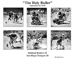 "Oakland Raiders famous ""Holly Roller""play...Dave Casper recovers fumble and scores to beat the Chargers in the final seconds...COPYRIGHT 1978 Ron Riesterer"