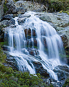 Routeburn Falls, on the Track, in Mount Aspiring National Park, New Zealand. In 1990, UNESCO honored Te Wahipounamu - South West New Zealand as a World Heritage Area.