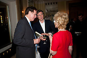JONATHAN AITKEN; ZAC GOLDSMITH; ELIZABETH AITKEN, Book launch of Lady Annabel Goldsmith's third book, No Invitation Required. Claridges's. London. 11 November 2009