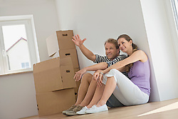 Couple planning layout new home apartment