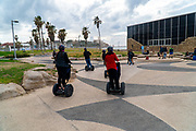 Segway tour at Charles Clore park, Tel Aviv, Israel Museum of the Etzel liberation movement, Irgun Tzvai Leumi, literarily The National Military Movement in the background