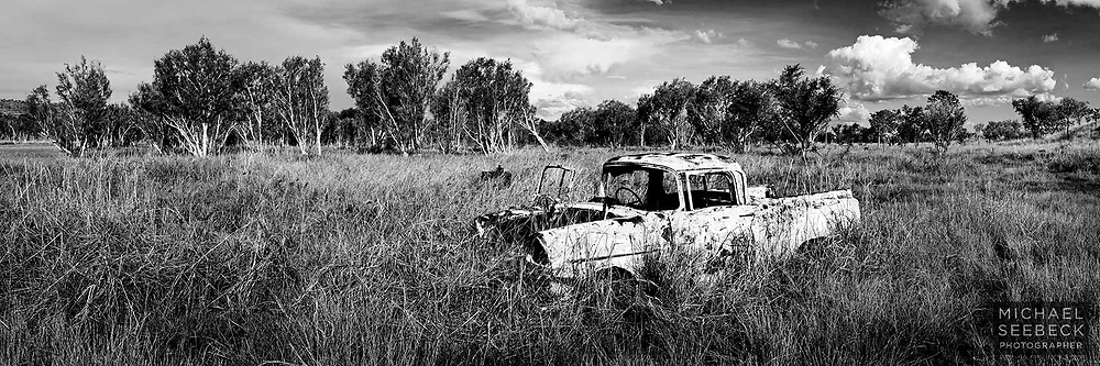 A old FJ Holden car wreck in the middle of nowhere, in the Kimberleys of Western Australia