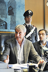 April 3, 2017 - Prato, Prato, Italy - The chief prosecutor Giuseppe Nicolosi during the press conference at Attorney's office of Prato for the arrest of a 28 years moroccan citizen, supposed author of the murder of Leonardo Lo Cascio, 38 years, killed on the evening of March 30 in the square Falcone and Borsellino. (Credit Image: © Giacomo Morini/Pacific Press via ZUMA Wire)