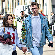 Street Fashion at London Fashion Week Men's on 9 June 2019, London, UK.