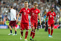 Joshua Kimmich and Philipp Lahm of FC Bayern Munchen during the match of Champions League between Real Madrid and FC Bayern Munchen at Santiago Bernabeu Stadium  in Madrid, Spain. April 18, 2017. (ALTERPHOTOS)