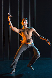 © Licensed to London News Pictures. 16/09/2015. London, UK. Pictured: Sooraj Subramaniam. Dress rehearsal for the World Premiere of Shobana Jayasingh's new work Material Men performed by bharathanatyam soloist Sooraj Subramaniam and hip hop dancer Shailesh Bahoran at Queen Elizabeth Hall, Southbank Centre. Material Men premieres in a double bill with 2013 commission Strange Blooms on 16 September 2015 and then tours to Cheltenham, Brighton, Swansea and Aberystwyth. Photo credit: Bettina Strenske/LNP