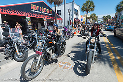 Kissa Von Addams, Sarah Furey and the Iron Lillies on the Hot Leathers ride in downtown Daytona during the Daytona Bike Week 75th Anniversary event. FL, USA. Tuesday March 8, 2016.  Photography ©2016 Michael Lichter.