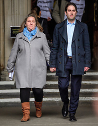 © Licensed to London News Pictures. 21/02/2017. London, UK. Heterosexual couple REBECCA STEINFELD and CHARLES KEIDAN leave the Royal Courts of Justice in London, where a Court of appeal ruled against the heterosexual couple being allowed to enter in to a civil partnership. Photo credit: Ben Cawthra/LNP