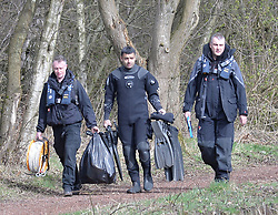 police divers arrive on scene during a search of a section of the Monklands Canal at Carnbroe by Police Scotland's underwater search unit in the search for the remains of 11-year-old Moira Anderson, who disapeared in 1957 and is widely believed to have been abducted and murdered by convicted paedophile Alexander Gartshore. <br /> © Dave Johnston/ EEm