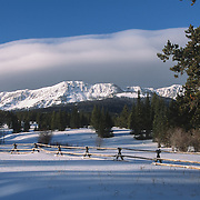 Snow-covered Bridger Mountains near Bozeman, Montana.