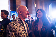 MUMBAI, INDIA – JANUARY 16, 2020: Amazon president Jeff Bezos and Lauren Sanchez greet Bollywood celebrities at a blue carpet event organized by Amazon Prime Video.