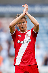 Jelle Vossen of Middlesbrough applauds the supporters after Middlesbrough win 1-2 - Photo mandatory by-line: Rogan Thomson/JMP - 07966 386802 - 13/09/2014 - SPORT - FOOTBALL - Huddersfield, England - The John Smith's Stadium - Huddersfield town v Middlesbrough - Sky Bet Championship.