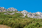 Rugged mountaintop cliffs on Mount Elfer, Stubaital, Tyrol, Austria