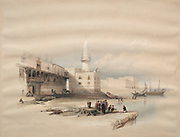 Quay at Suez, Egypt 1839 Watercolor painting by David Roberts (1796-1864). An engraving reprint by Louis Haghe was published in a the book 'The Holy Land, Syria, Idumea, Arabia, Egypt and Nubia. in 1855 by D. Appleton & Co., 346 & 348 Broadway in New York.