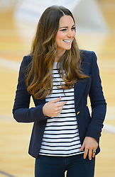 The Duchess of Cambridge, Patron of SportsAid, during her visit to the Copper Box at the former Olympic Park, in east London, to see how young athletes are benefiting from help from one of her charities.