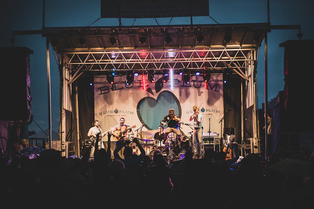 Johnson City, TN, USA - June 4, 2016: Scythian, a Celtic folk rock band, performs at the annual Blue Plum Festival in Johnson City.
