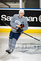 KELOWNA, BC - SEPTEMBER 23: Kris Russell #4 of the Edmonton Oilers enters the ice at practice at Prospera Place on September 23, 2019 in Kelowna, Canada. (Photo by Marissa Baecker/Shoot the Breeze)