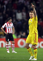 Photo: Paul Thomas.<br /> PSV Eindhoven v Liverpool. UEFA Champions League, Quarter Final, 1st Leg. 03/04/2007.<br /> <br /> John Arne Riise of Liverpool celebrates his goal.