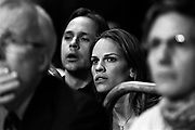 """Hillary Swank and her husband Chad Lowe are watching Maureen Shea and Ronica Jeffrey fight during the 2005 Daily News Golden Gloves 125-pound women's final at the Theatre of Madison Square Garden on April 8th.  Shea helped train Swank for her role in """"Million Dollar Baby""""."""