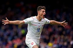 Czech Republic's Patrik Schick celebrates scoring the second goal during the UEFA Euro 2020 Group D match at Hampden Park, Glasgow. Picture date: Monday June 14, 2021.