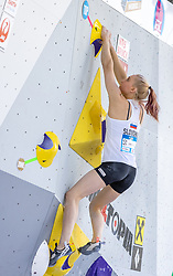 26.06.2021, Kletterzentrum, Innsbruck, AUT, IFSC, Austria Climbing Open 2021, Damen, Boulder, Halbfinale, im Bild Janja Garnbret (SLO) // Janja Garnbret of Slovenia during the semifinal of women Boulder competition of the Austria Climbing Open 2021 at the Kletterzentrum in Innsbruck, Austria on 2021/06/26. EXPA Pictures © 2021, PhotoCredit: EXPA/ Johann Groder