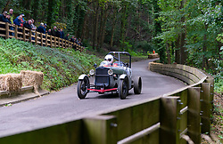 Boness Revival hillclimb motorsport event in Boness, Scotland, UK. The 2019 Bo'ness Revival Classic and Hillclimb, Scotland's first purpose-built motorsport venue, it marked 60 years since double Formula 1 World Champion Jim Clark competed here.  It took place Saturday 31 August and Sunday 1 September 2019. Car 10, Alastair Reynolds, Austin Super Accessories Special.