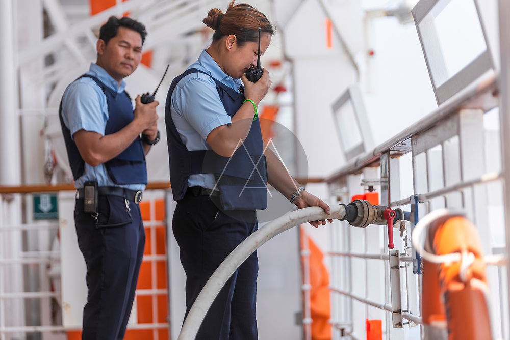 Somalia, Red Sea - 02 April 2019: View of security officers performing a drill against the pirates attack onboard of a cruise ship, Red Sea, Somalia.