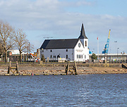 Historic waterfront Norwegian Church building, Cardiff Bay, Cardiff, South Wales, UK