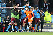 GOAL CELEBRATIONS last minute winner scored by Matt Crooks during the EFL Sky Bet League 1 match between Scunthorpe United and Rochdale at Glanford Park, Scunthorpe, England on 14 March 2017. Photo by Daniel Youngs.