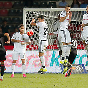 Gaziantepspor's Orkan Cınar (L) and Besiktas's (L-R) Kerim Frei, Necip Uysal, Rhodolfo, Ersan Gulum, goalkeeper Tolga Zengin during their Turkish Spor Toto superleague soccer match Gaziantepspor between Besiktas at the Kamil Ocak stadium in Gaziantep Turkey on Friday 28 August 2015. Photo by Aykut AKICI/TURKPIX