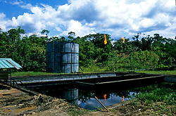 Unlined oil disposal pit in the jungles of Ecuador