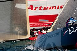 Artemis Racing (SWE) vs. All4One (GER/FRA), RR1. Both teams win one match. Dubai, United Arab Emirates, November 18th 2010. Louis Vuitton Trophy  Dubai (12 - 27 November 2010)  Sander van der Borch / Artemis Racing