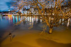 Night view of the floods in Paris city as Seine river keep on rising, reaching 6 meters high in Paris, France on January 25, 2018. Photo by Christophe Geyres/ABACAPRESS.COM