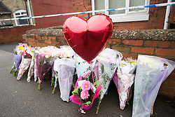 © Licensed to London News Pictures. 17/01/2017. Dinnington UK. Picture shows flowers at the scene in Dinnington this morning where the body of Leonne Weeks was found of Lordens Hill. Police have said they have concerns around the state of the body & the injuries & are treating her death as suspicious. Photo credit: Andrew McCaren/LNP
