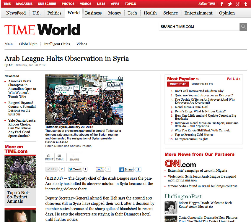 """Screengrab of """"Syrian revolution"""" published in TIME.com"""