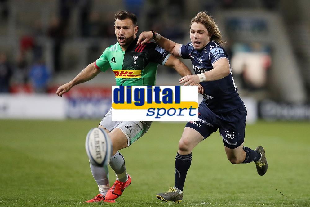 Rugby Union - 2018 / 2019 Gallagher Premiership - Sale Sharks vs. Harlequins<br /> <br /> Danny Care of Harlequins and Faf De Klerk of Sale Sharks, at the AJ Bell Stadium.<br /> <br /> COLORSPORT/PAUL GREENWOOD
